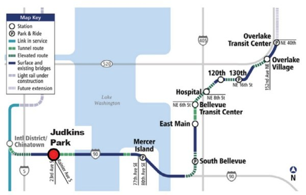 Light Rail Line around Judkins Park