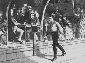Fans look on as pedestrian Edward Payson Weston walks in 1874.