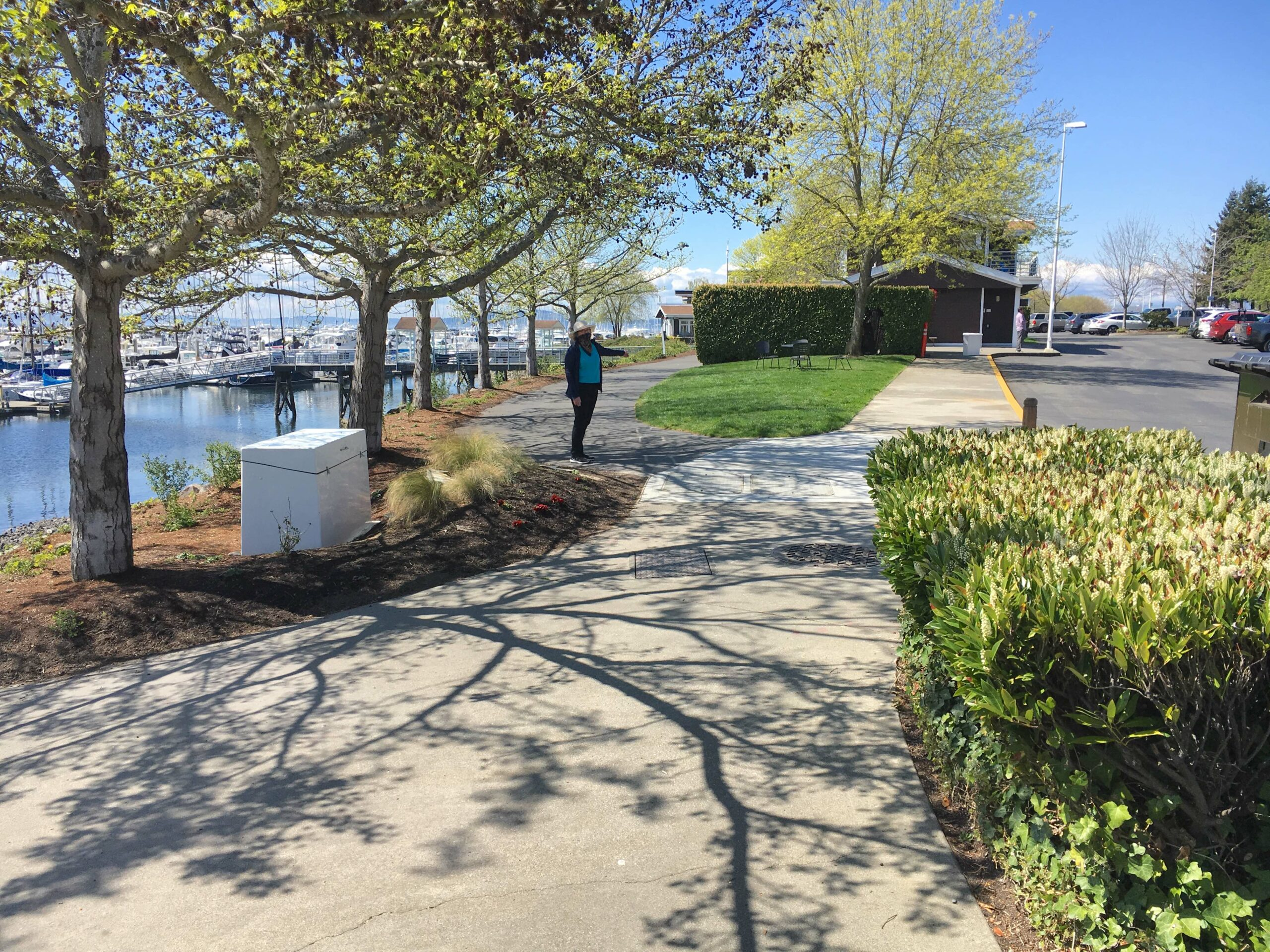 Take Lower Path to Marina, Seating, and Cafe